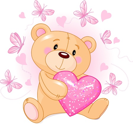 teddy bear cartoon: Cute Teddy Bear sitting with pink love heart