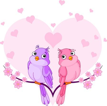 schattige dieren cartoon: Twee heel schattig roze vogels in de liefde