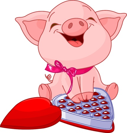 Cute pretty pig at Valentines Day with chocolates Ilustração