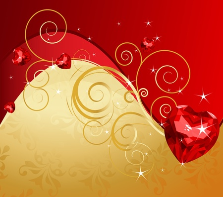 Golden Valentines Day background with ruby heart Ilustrace