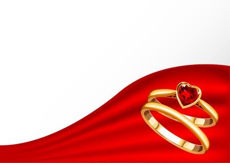 Bruiloft kaart met gouden ringen op rood