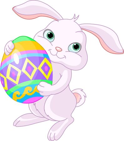 Illustration of happy Easter bunny carrying egg Ilustracja