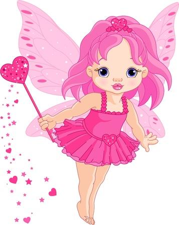 Illustrazione della Cute little Love baby fata in volo
