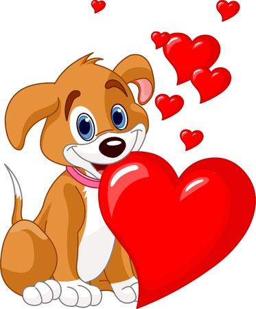 Cute puppy gospodarstwa czerwony serca w ustach. Dodać własny tekst. Ilustracje wektorowe