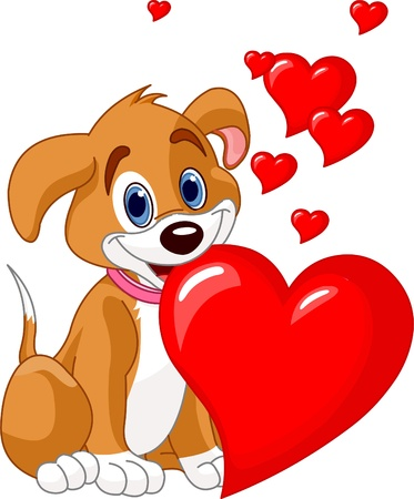 Cute puppy holding a red heart in her mouth. Add your own text.