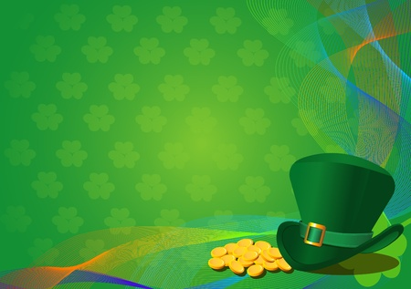 clover banners: St. Patricks Day Background with Leprechaun Hat