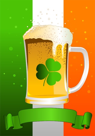 irish flag: Vertical St. Patrick�s Day Celebration Background with Copy space.