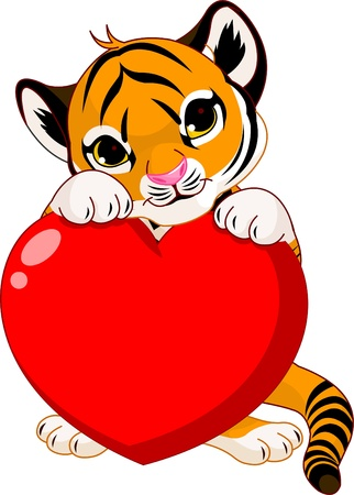 cubs: Valentine�s day Illustration of cute tiger cub holding heart