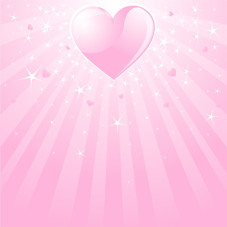 Pink Valentine background with heart, stars and stripes