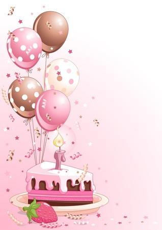 gateau anniversaire: Clipart rose lustration d'une tranche de g�teau d'anniversaire avec des ballons et de confettis Illustration