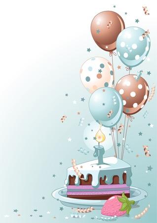 gateau anniversaire: Clipart bleu lustration d'une tranche de g�teau d'anniversaire avec des ballons et de confettis