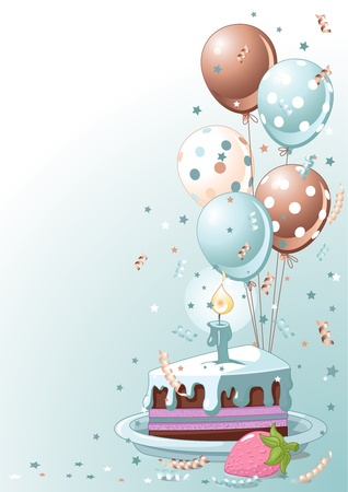 Clipart blue  lustration of a Slice Of  Birthday Cake With Balloons And Confetti Vector