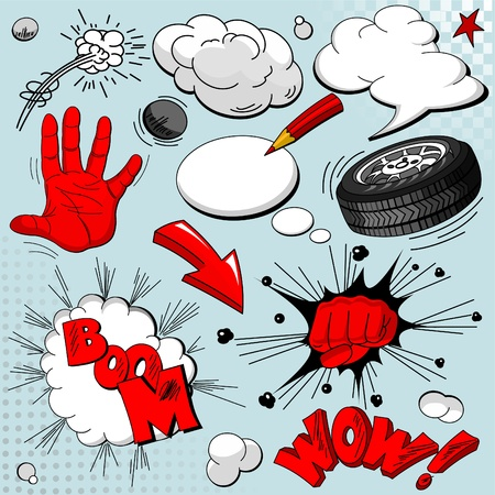 Set of comic book explosions for your design Vector