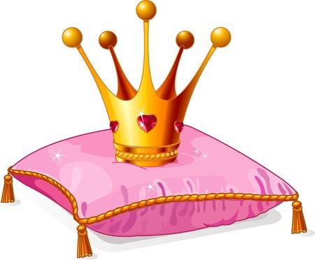 Coroa de princesa de ouro no travesseiro rosa