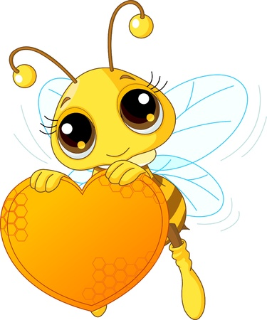 Cute bee holding a sweet  heart with place for copy/text