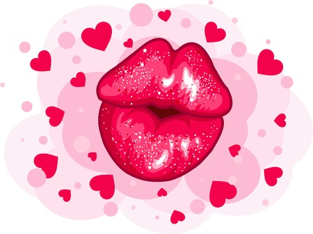 lips smile: Love kiss design for Valentine�s Day