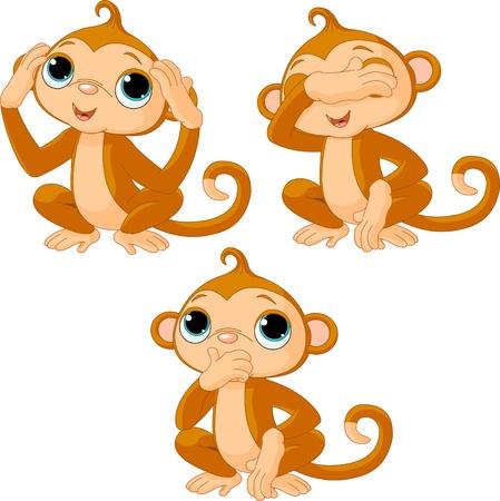 Three little monkeys. See no evil, speak no evil, hear no evil Vectores