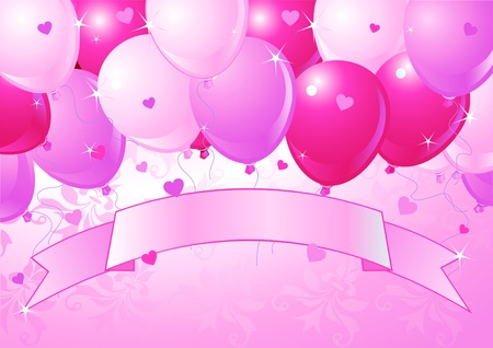 red balloons: Falling pink Balloons on  Background with place for copytext Illustration
