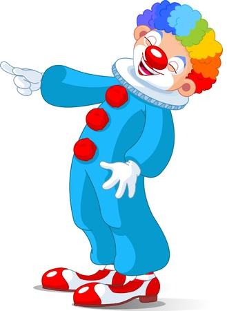 clown cirque: Illustration de Clown Cute riant et pointant