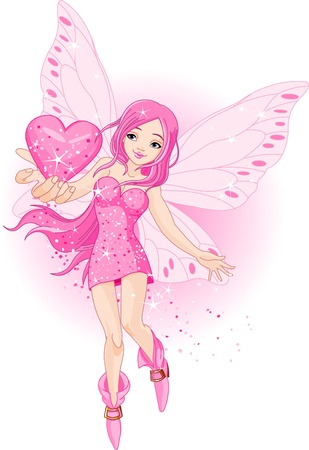 cute fairy: Illustration of beautiful love fairy holding heart Illustration