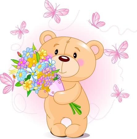 꽃다발을 들고 귀여운 작은 곰