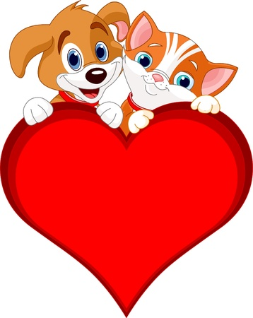 cat dog:  Valentine Cat and dog holding sign heart (add your own message)