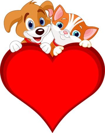 chiot et chaton:  Valentine chat et chien tenant signent cardiaque (ajouter votre propre message) Illustration