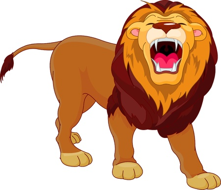lion tail: Fully editable  illustration of a roaring cartoon Lion