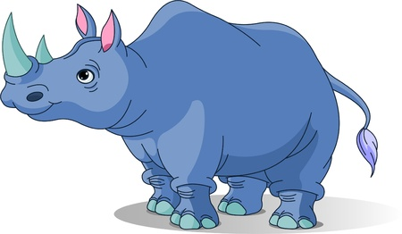 sniff:  Cartoon funny  rhino isolated on white Illustration