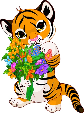 cubs: Cute little tiger cub holding a bouquet