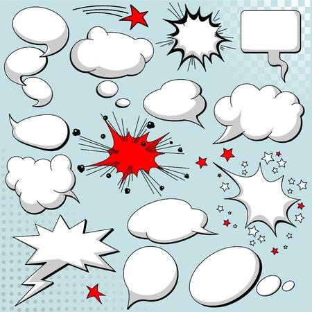 Comics stijl tekst ballonnen  lucht ballonnen op achtergrond