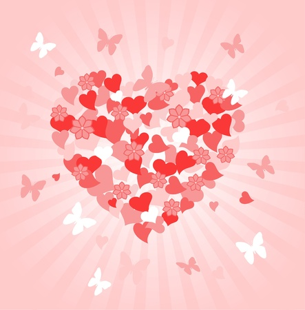 Valentines Day radial background with floral heart shape  Vector