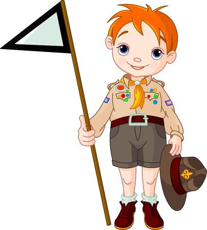 Jonge happy boy scout holding een vlag Stock Illustratie