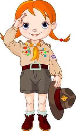 pfadfinderin: Happy Boy Scout M�dchen tun ein Handzeichen Illustration