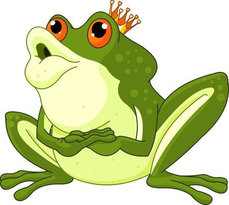 frog prince:  Clip Art of a Frog Prince waiting to be kissed