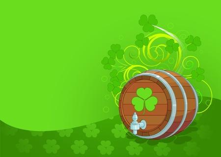 Decorative St. Patricks Day design with beer keg  Vector