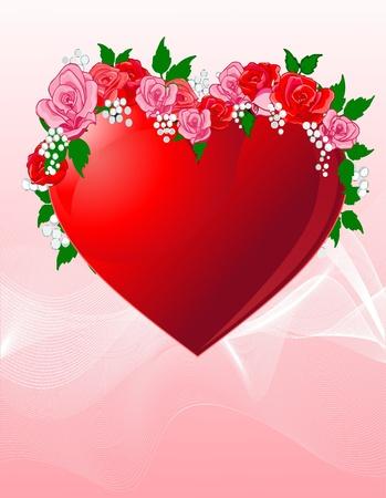 아름다운 장미 배경으로 사랑의 마음
