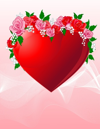 Love heart with beautiful roses background