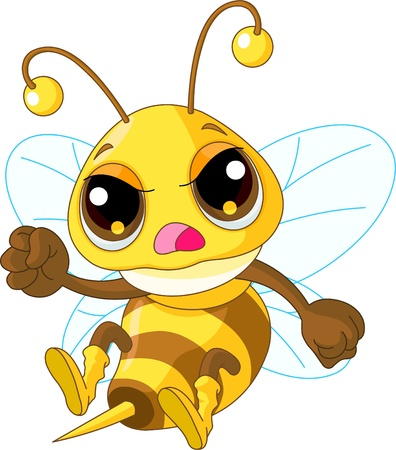 Illustration of angry Cute Bee in fly