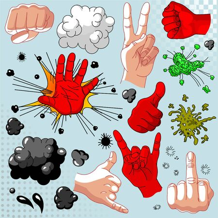 little finger: Comics hands collection - icon set