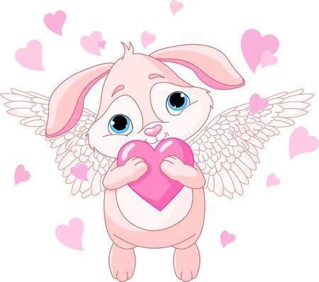 lapin:  Cuterabbit avec des ailes tenant love coeur Illustration