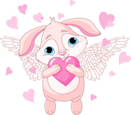 Cuterabbit with wings holding love heart Vector