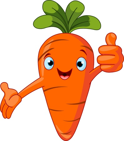thumb's up: Illustration of a Carrot Character  giving thumbs up