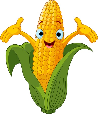 anthropomorphic: Illustration of a Sweet Corn Character Presenting Something