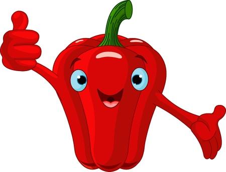 Illustratie van een peper karakter geven duimen omhoog