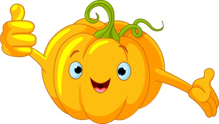 Illustration of a Pumpkin Character  giving thumbs up