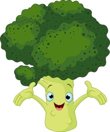 cartoon fruit: Cartoon cute Broccoli presenting something