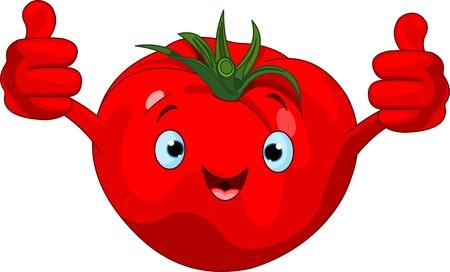 Illustratie van een tomaat karakter geven duimen omhoog