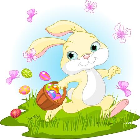 conejo caricatura:  Ilustración de lindo Easter Bunny ocultar huevos