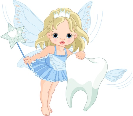 Illustration of a cute little Tooth Fairy flying with Tooth Illustration